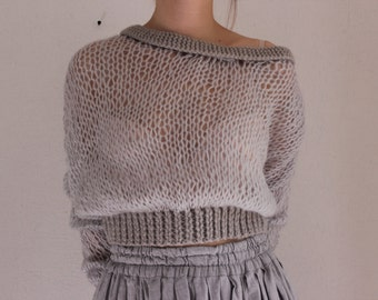 Transparent knitted sweater | Delicate warm sweater | Grey sweater | Chunky knitted sweater | Bohemian sweater | Loose knit sweater