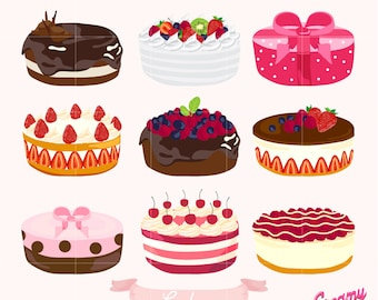 Birthday Cake Digital Vector Clip art/ Wedding Cakes Digital Clipart Design Illustration / Pastry, Sweets, Baking, Dessert / Download