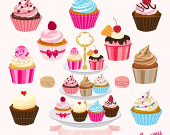 Cupcakes Cake Digital Vector Clip art/ Muffin Digital Clipart Design Illustration/Macaron, Pastry, Sweets, Baking, Dessert / Download