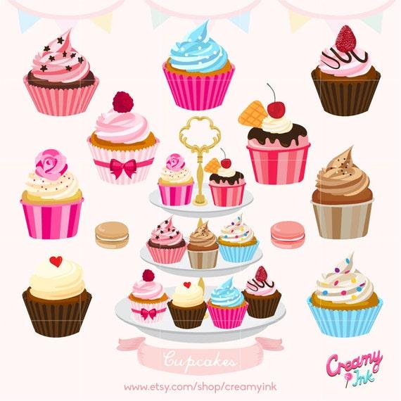 Cupcakes Cake Digital Vector Clip art/ Muffin Digital Clipart