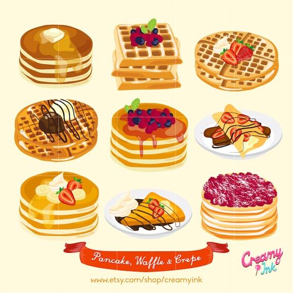 Waffle & Pancake Digital Vector Clip art/ Crepes Cakes Digital