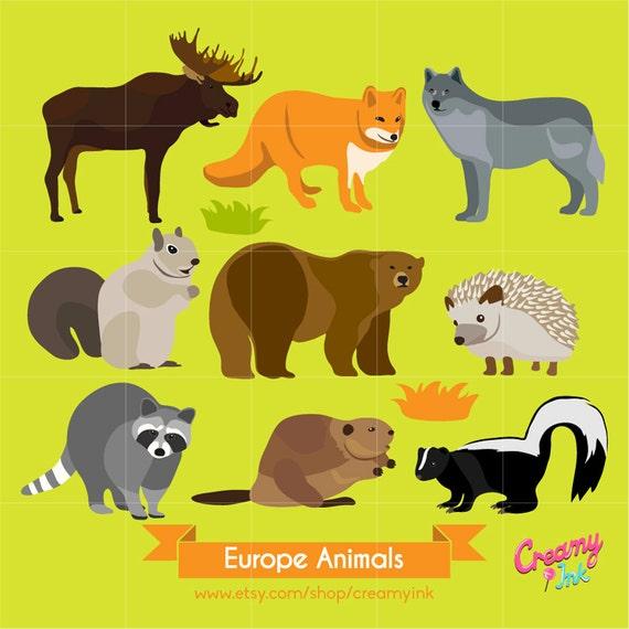 Europe Wildlife Animals Digital Vector Clip art / Animal