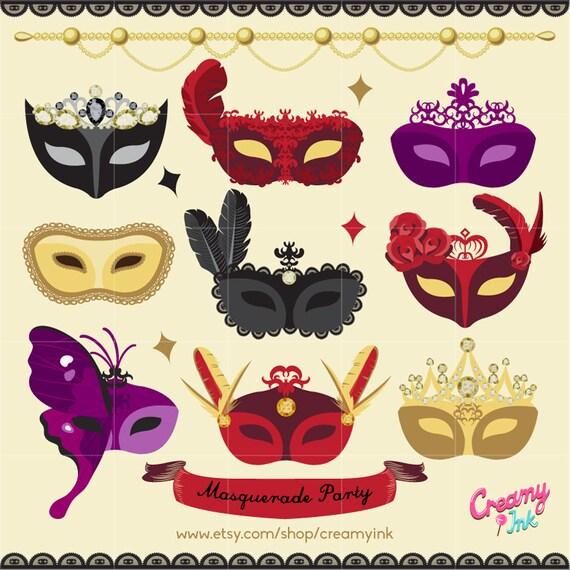 masquerade mask digital vector clip art dance party mask clipart