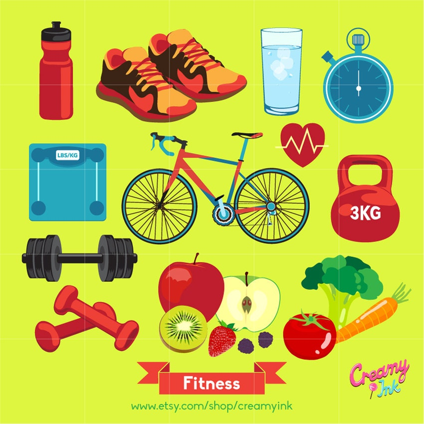 Healthy Lifestyle Digital Vector Clip art / Fitness Health