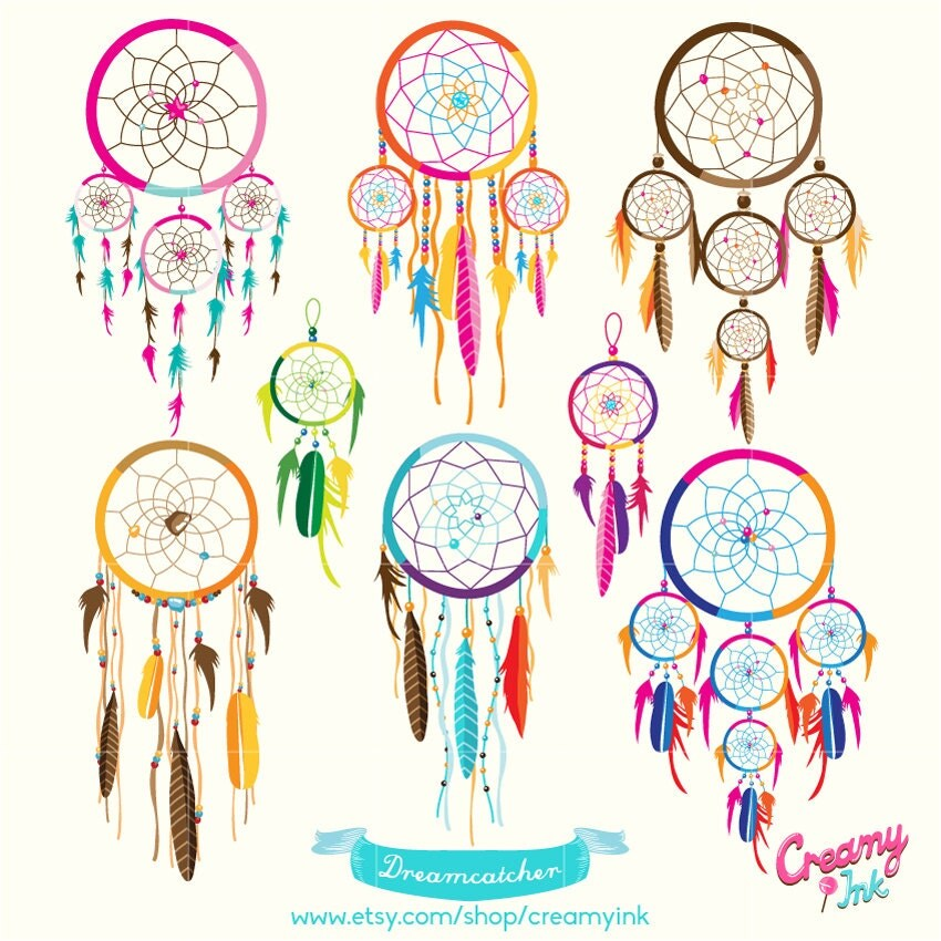 Dreamcatcher digital vector clip art tribal boho digital for Dream catcher graphic