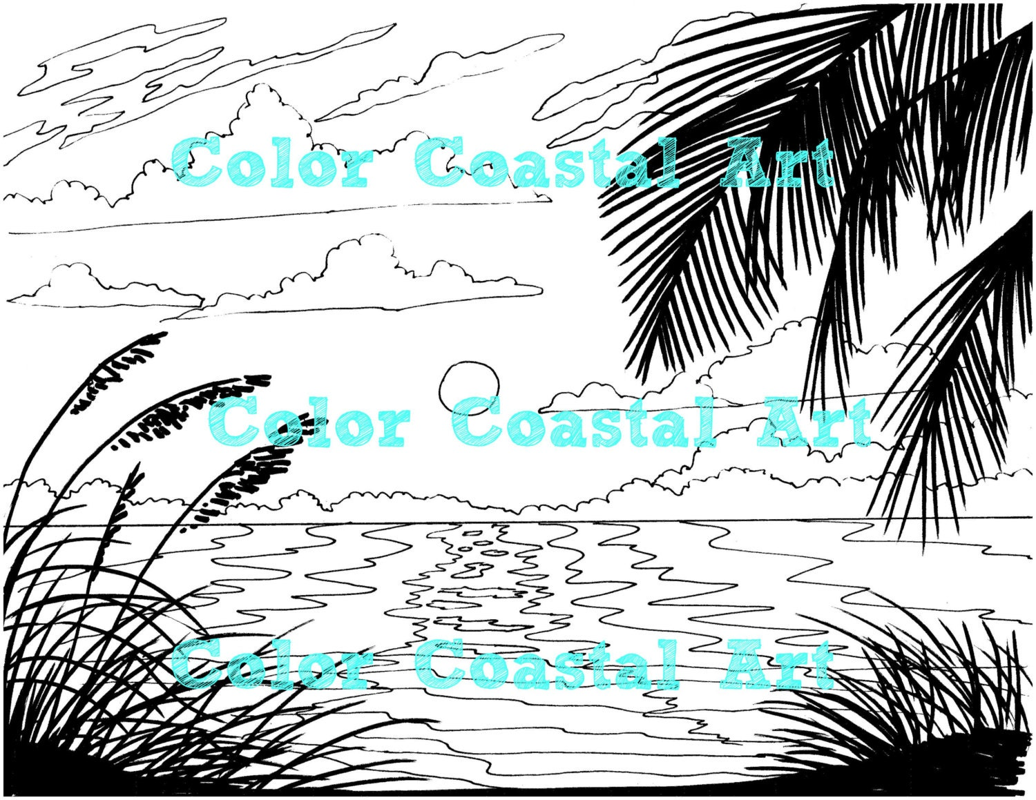 Beach sunrise coloring page embroidery pattern beach art this is a digital file bankloansurffo Choice Image