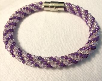 Purple braided Kumihimo bracelet