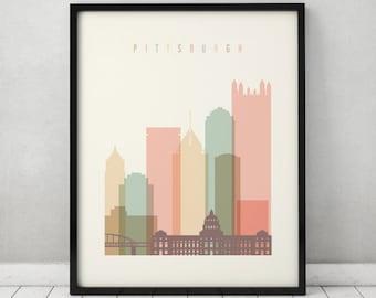 Pittsburgh Art Print Poster Wall Art Pittsburgh Skyline Pennsylvania City Poster