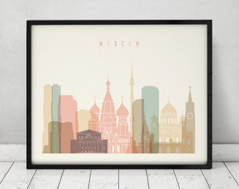 Moscow print, Poster, Wall art, Russia cityscape, Moscow skyline, City poster, Typography art, Home Decor, Digital Print, ART PRINTS VICKY.