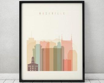 Nashville print, Poster, Wall art, Nashville Tennessee skyline, City poster, Typography art Home Decor, Digital Print ArtPrintsVicky.