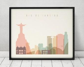 Rio De Janeiro print, Poster, Wall art, Rio De Janeiro Brazil skyline, City poster Typography art Home Decor, Digital Print ArtPrintsVicky.