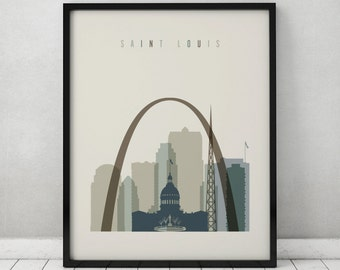 Saint Louis Print Poster Wall Art Saint Louis Missouri Skyline City Poster