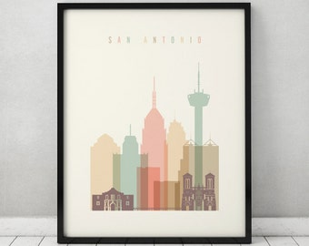 San Antonio print, Poster, Wall art, San Antonio Texas skyline, City poster, Typography art, Home Decor, Digital Print, ArtPrintsVicky.