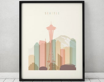 seattle print seattle poster wall art seattle skyline cityscape city poster typography art home decor digital print art prints vicky - Seattle Home Decor