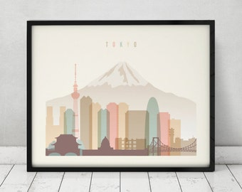 Tokyo print, Poster, Wall art, Tokyo skyline, Japan cityscape, City poster,  Typography art, Home Decor, Digital Print, ART PRINTS VICKY.