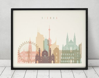 Vienna print, Poster, Wall art, Vienna skyline, Austria cityscape, City poster, Typography art, Home Decor, Digital Print, ArtPrintsVicky.
