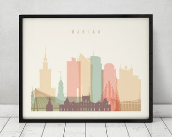 Warsaw print, Poster, Wall art, Warsaw skyline, Poland cityscape, City poster, Typography art, Home Decor, Digital Print, ArtPrintsVicky.