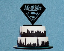 Couston Superman Cake Topper Mr & Mrs Wedding Cake Topper,Funny Supermen Cake Topper,Romantic Cake Topper For Wedding Decoration
