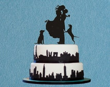 Custom Wedding Cake Topper,Bride and Groom Wedding Silhouette Couple with Dog Cake Topper,Wedding Cake Decoration,Two Dog Cake Topper