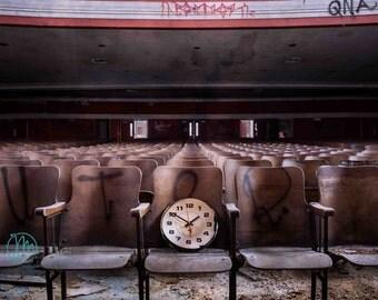 Urban Decay, Theater, Theatre, Fine art photography, Abandoned, Wall Decor, Home Decor, Fine art print, Clock, Time