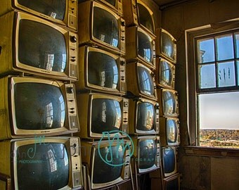 T.V., TV, Fine art photography, Urban Decay, Abandoned House, Wall Decor, Home Decor, Abandoned, Fine art print, Television