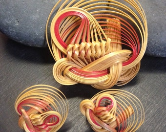 Vintage 60's Twisted Bamboo Art Brooch and earrings