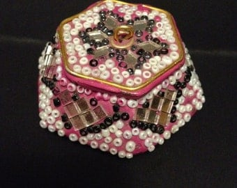 Vintage beaded Jewelry trinket box, colorful, handmade, mirrored box
