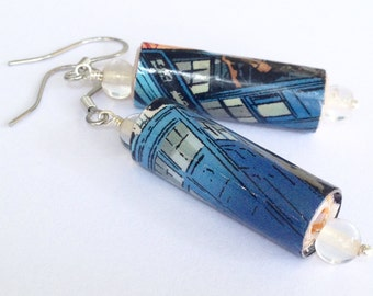 Doctor Who paper bead earrings