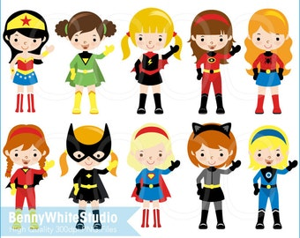 10 Superhero Girls Clip Art. For Personal and Small Commercial Use. B-0073.