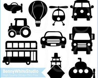 Transportation Vehicles Silhouette Clip Art Set 1. Digital Files for Your Personal and Small Commercial Use. B-0075.