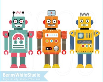 3 Digital Robots Clip Art. For Personal and Small Commercial Use. B-0083.