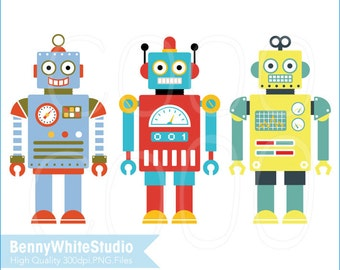 3 Digital Robots Clip Art. For Personal and Small Commercial Use. B-0084.