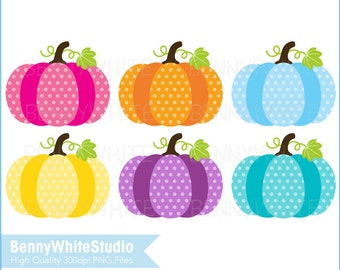 6 Pumpkin Clip Art. Thanksgiving Autumn Fall Harvest. For Personal and Small Commercial Use. B-0096