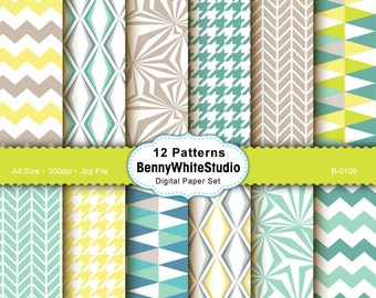 12 Geometric Digital Papers. For Your Scrapbooking and Handmade Projects. Personal and Small Commercial Use. B-0109.