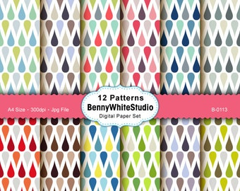 12 Water Drop Pattern Digital Papers. For Your Scrapbooking and Handmade Projects. Personal and Small Commercial Use. B-0113.