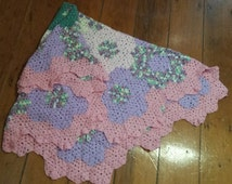 Baby Girl Crochet Blanket, Baby Wrap -  Purple,Pink and Green - Hexagonal Flower Design - Suitable for a Cot, Pram or Shawl