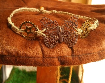 Hemp Necklace with Steampunk Butterfly Pendant