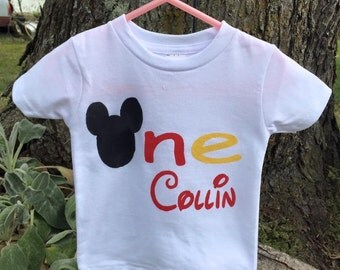 1st Birthday Mickey Mouse Shirt/Mickey Mouse Party Shirt/Party Shirt Mickey/Mickey Shirt for photos/Personalized Mickey 1st Birthday Shirt