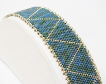 Beadwoven Bracelet of Silverlined Blue Green Mix     Peyote Beadwoven Seed Bead Bracelet  Contemporary Modern OOAK Jewelry