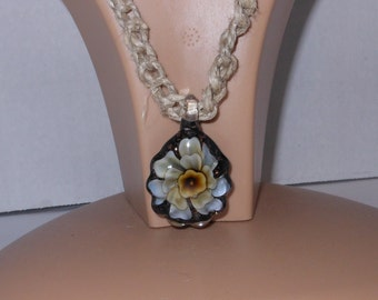 Necklace hemp macrame necklace with lampwork glass flower pendant