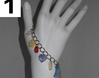 SALE! 3 Bracelet Multicolor Mother of Pearl charm bracelet on a silver chain with lobster clasp