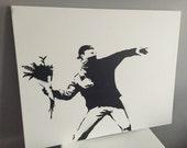 Banksy, Rage, Flower Thrower in B&W - Spray Paint on Canvas