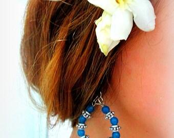 Blue and silver looking hoop dangle earrings