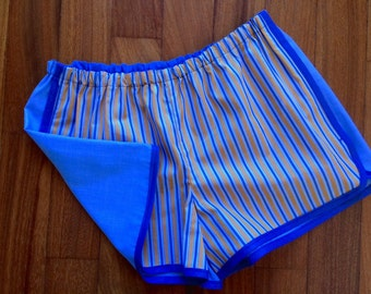 Pajama shorts blue and yellow stripes/soft blue