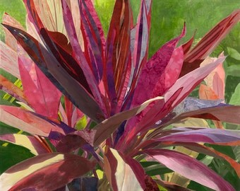70x70cm Giclee Print of Red Silk Floral Painting on Canvas