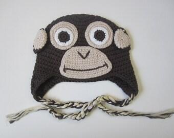 Baby monkey Crochet Hat baby photo prop