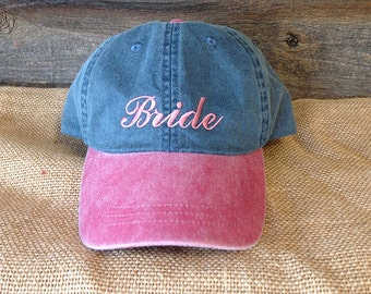 Bride Hat //Bachelorette Party Bride Dualtone Denim Hat Ball Cap