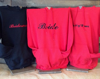 Bridal Party Sweatshirts Sets //Bride, Bridesmaid, Maid of Honor and more Bachelorette Party Embroidered Sweatshirts