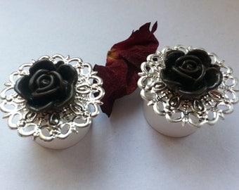 Black Silver roses plugs