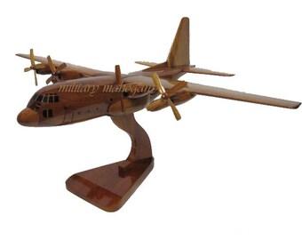 USAF USMC Marine Corps Air Force C-130 Hercules Military Cargo Wood Wooden Mahogany Model Gift